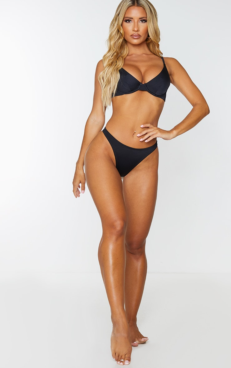 Black Recycled Fabric Mix & Match High Leg Bikini Bottom 4