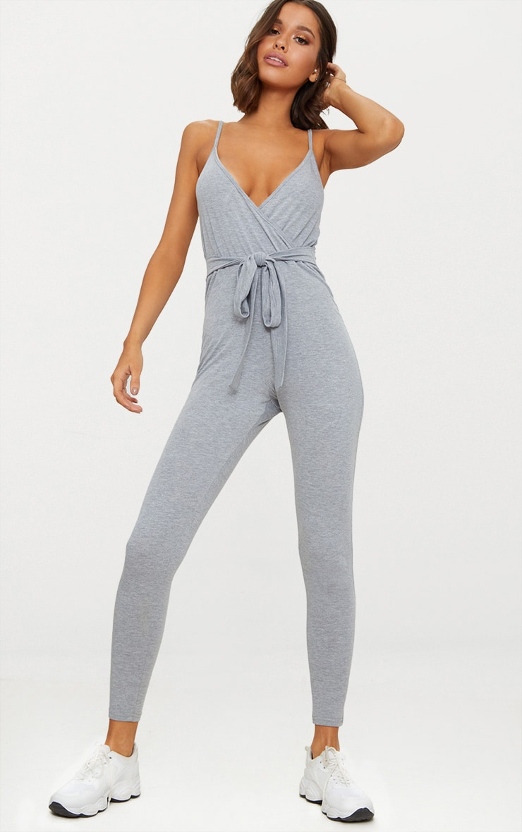 Grey Marl Jersey Wrap Tie Waist Jumpsuit 1