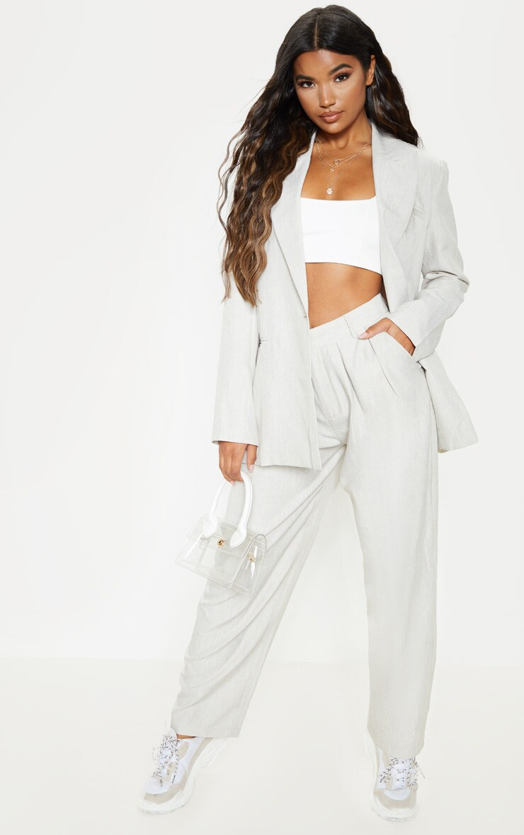 Stone Woven High Waisted Cigarette Trouser