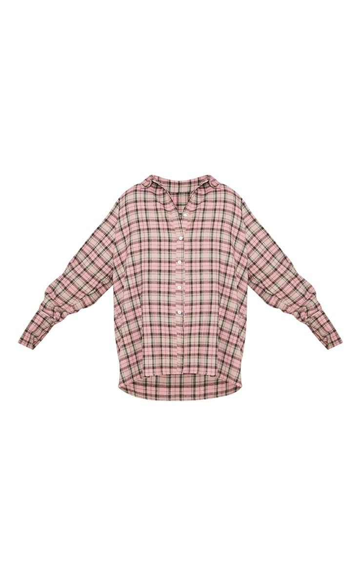 Pink Tartan Checked Flannel Pocket Detail Oversized Shirt 3