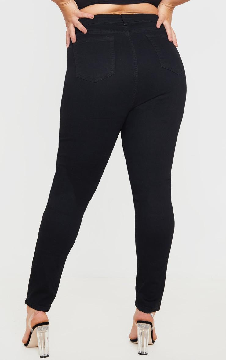 PRETTYLITTLETHING Plus Black 5 Pocket Knee Rip Skinny Jean 4