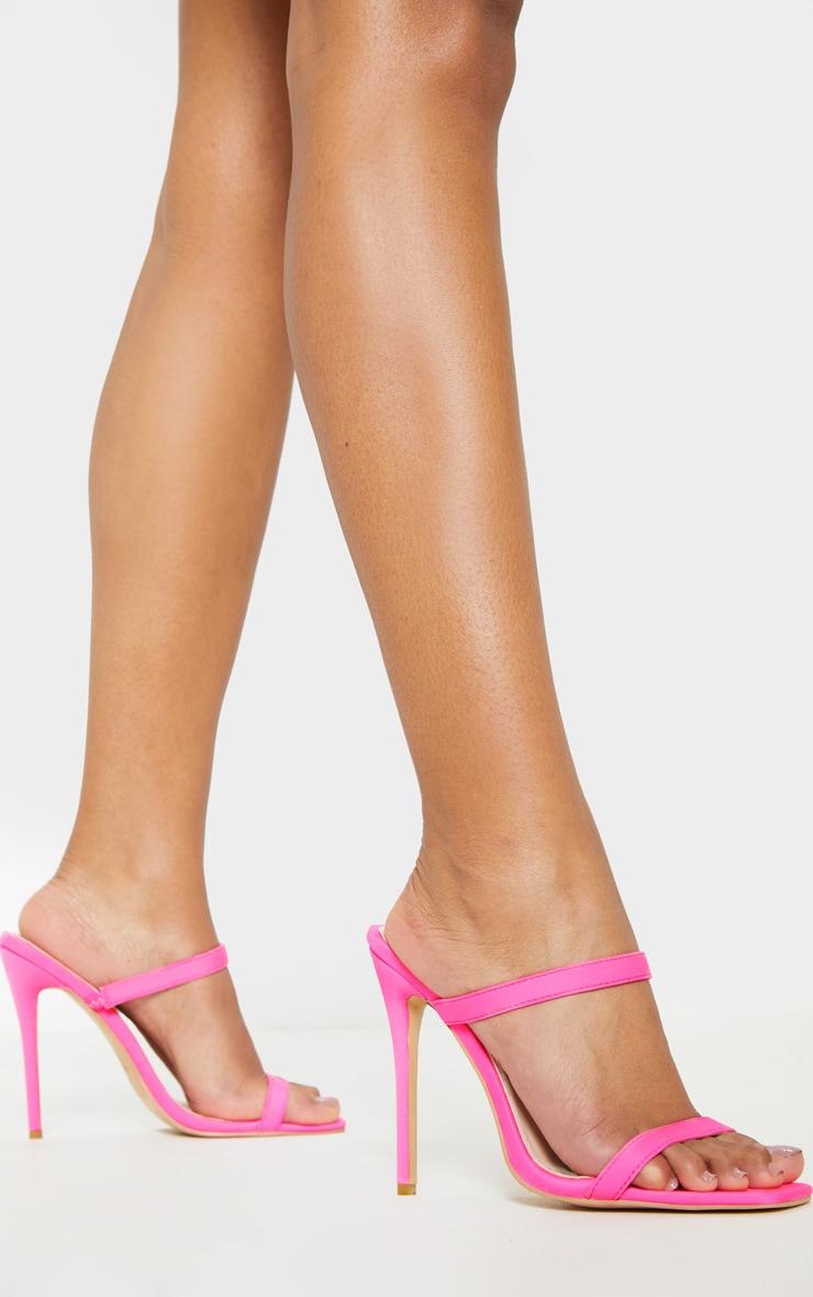 Pink Twin Strap Square Toe Mule Sandal 1