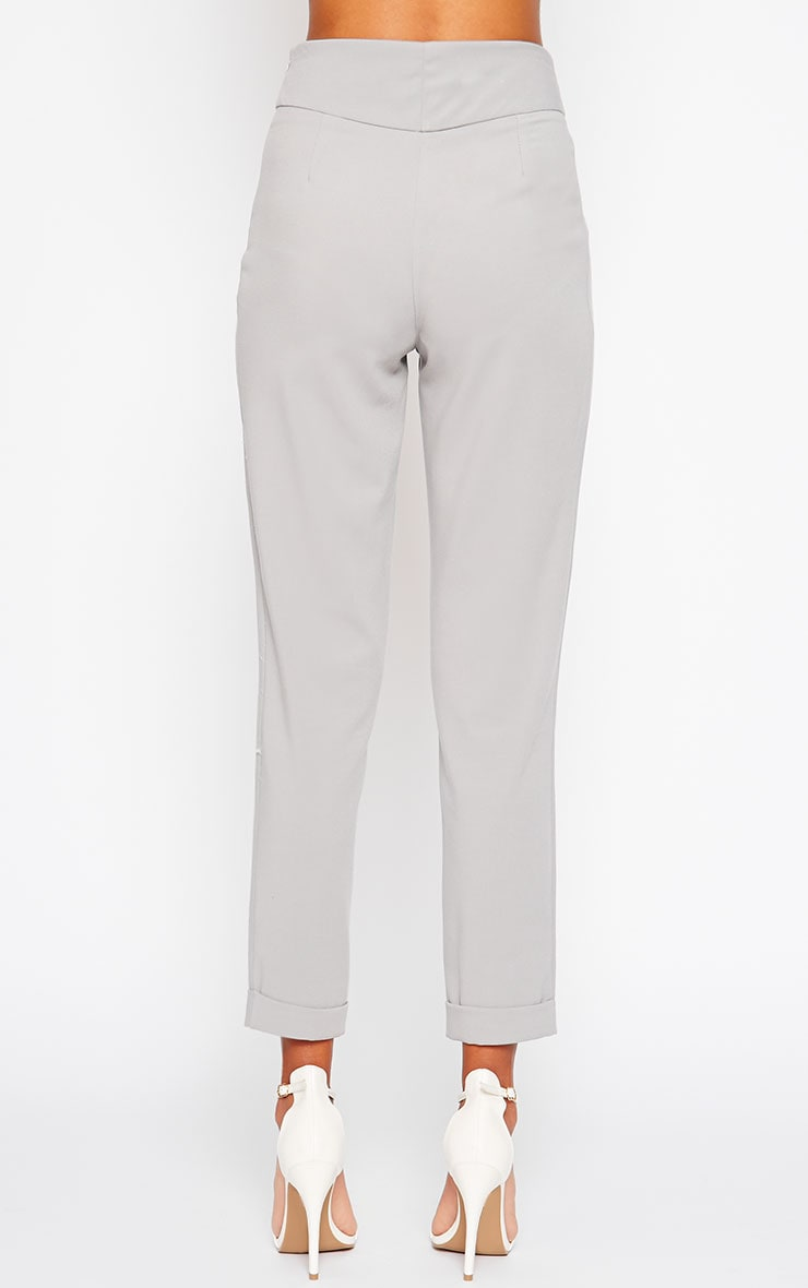 Elenor Light Grey High Waisted Tapered Trousers 2