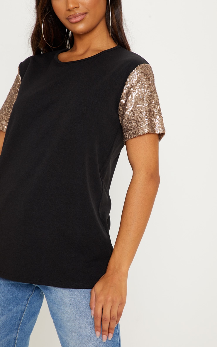 Black Sequin Sleeve Oversized T shirt 5