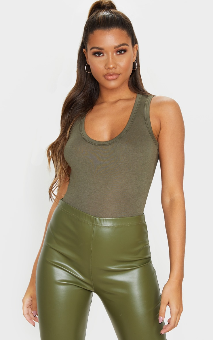 Khaki Jersey Scoop Neck Sleeveless Bodysuit 1