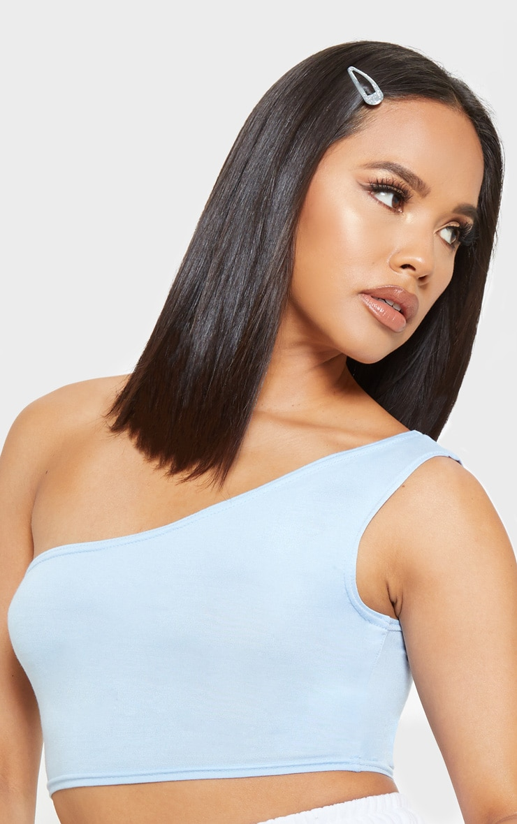 Baby Blue Basic Jersey One Shoulder Crop Top 5