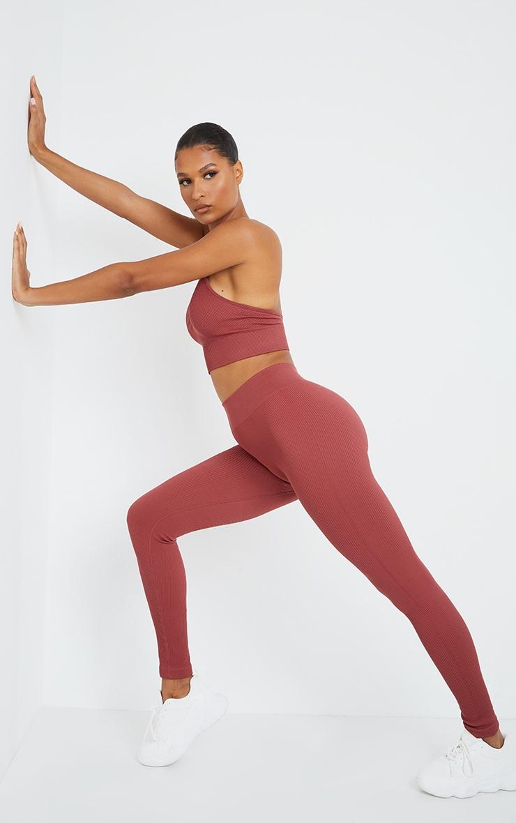 Rose Seamless Rib High Waisted Gym Leggings 1