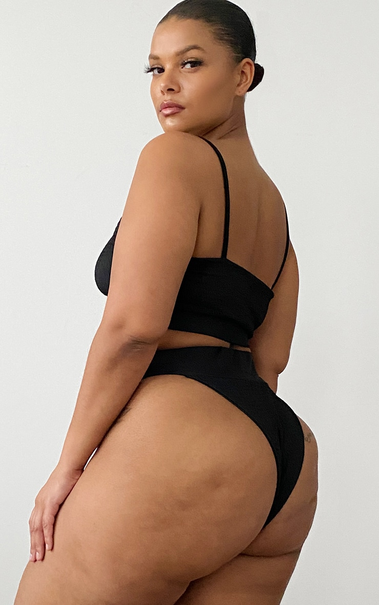 Plus Black Two Piece Scoop Bikini Set 2