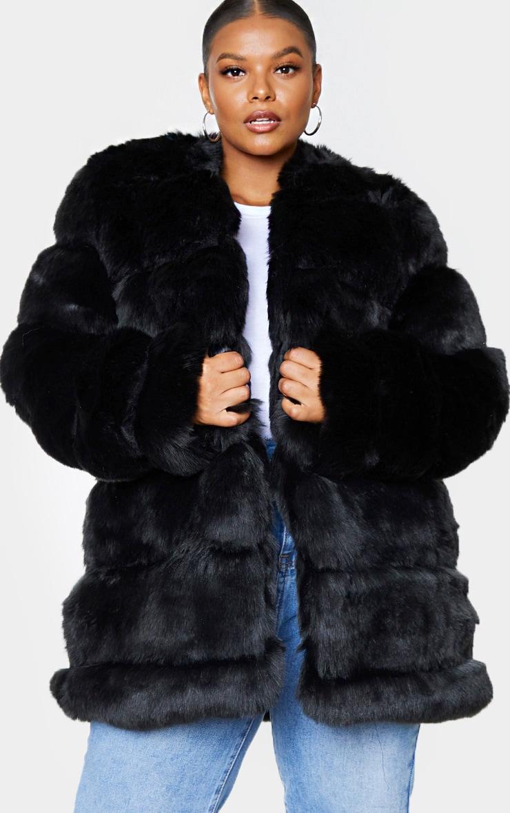 Plus Black Faux Fur Bubble Coat 3