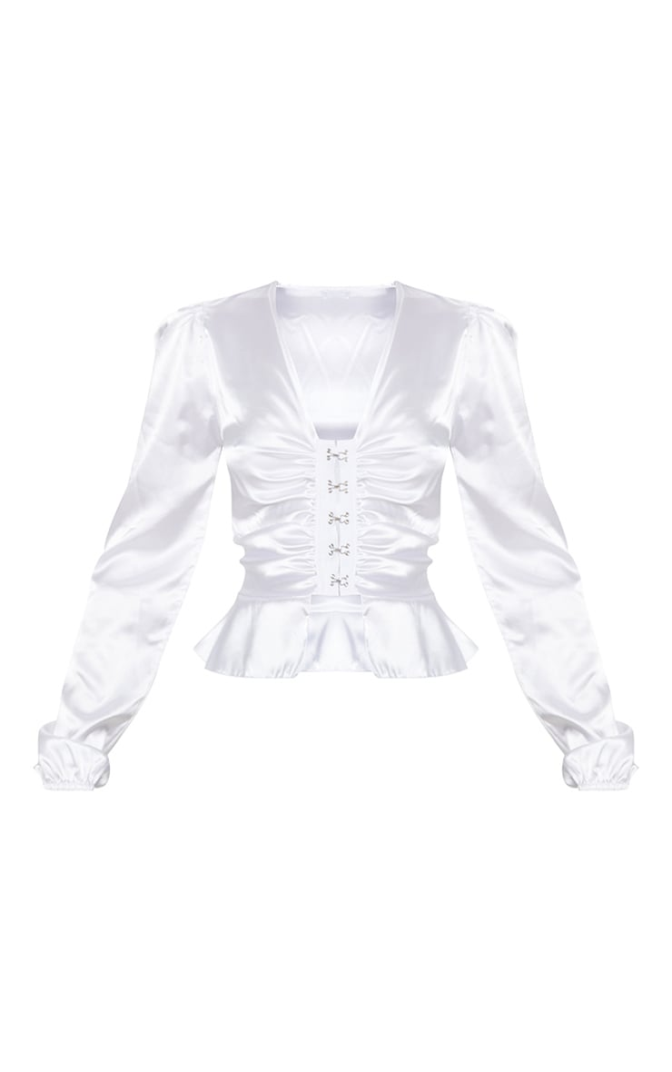 White Satin Hook And Eye Peplum Blouse 3