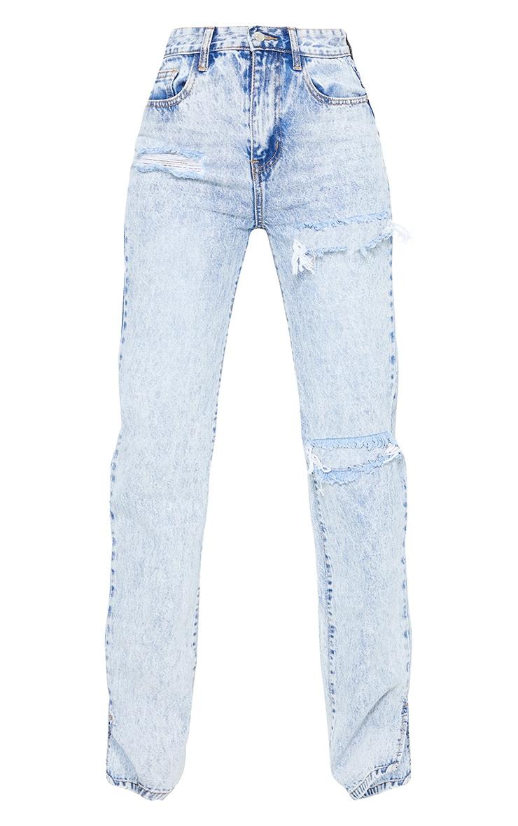 Tall Ice Blue Distressed Split Hem Jeans 5