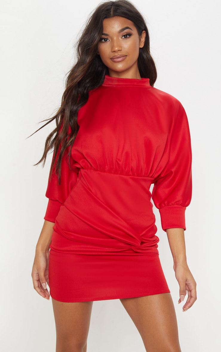 Red Scuba Twist Detail Batwing Bodycon Dress
