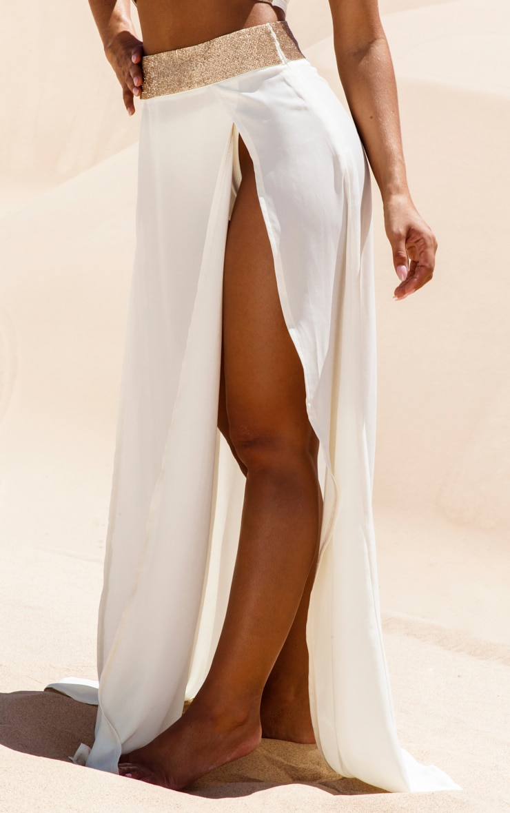 Cream Diamante Waist Split Beach Skirt 2