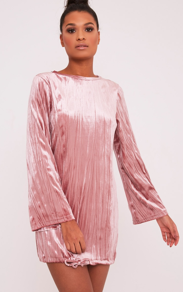 Ailsah Dusty Pink Textured Velvet Bell Sleeve Shift Dress 1