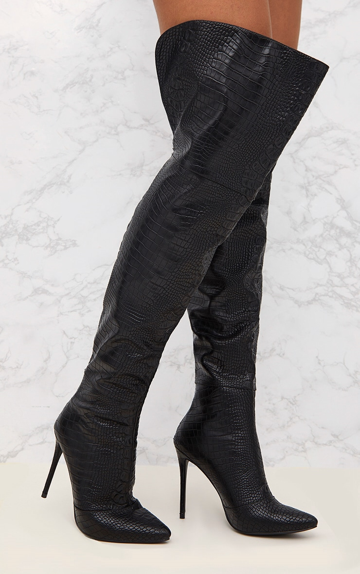 Black Faux Croc PU Thigh High Heeled Boots 1
