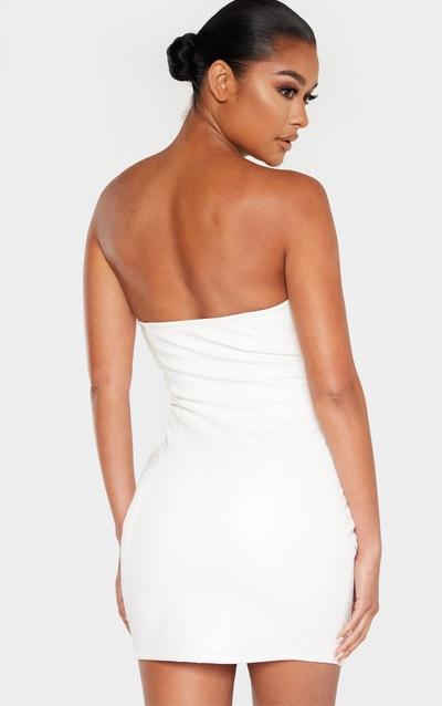 White Faux Leather Cup Detail Zip Through Bodycon Dress