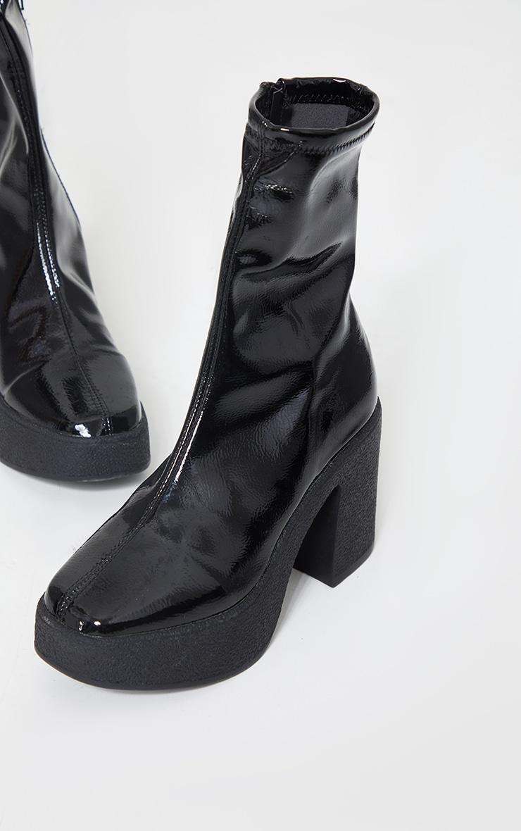 Black Vinyl Platform Sock Boots 3