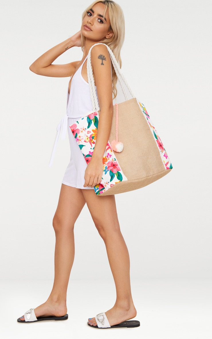 Pink Floral Pom Pom Beach Bag 1