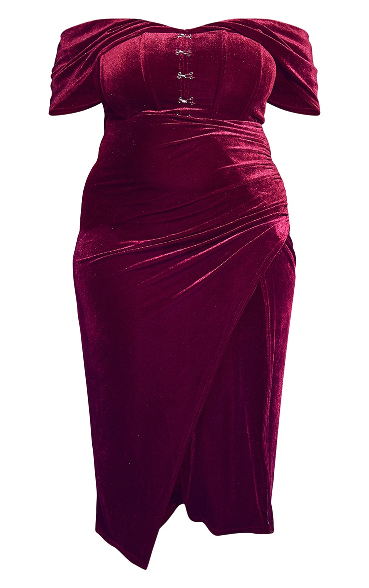 Plus Burgundy Velvet Eyelet Detail Bardot Midi Dress 5