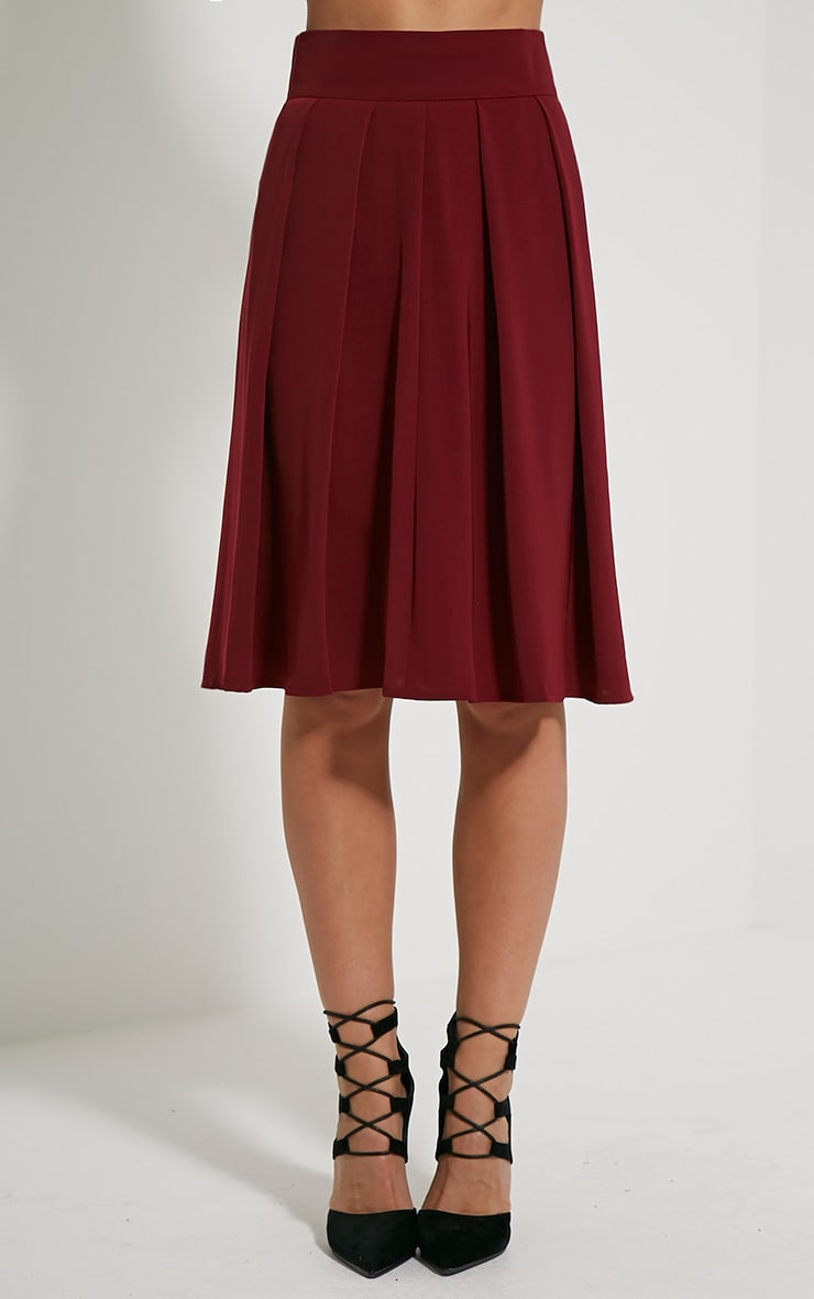 Bonnie Burgundy Pleated Midi Skirt 2