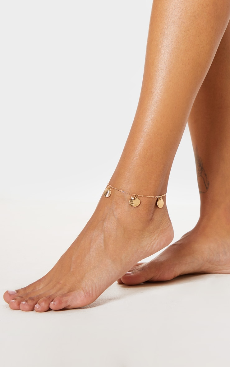 Gold Shell Charm Anklet 2