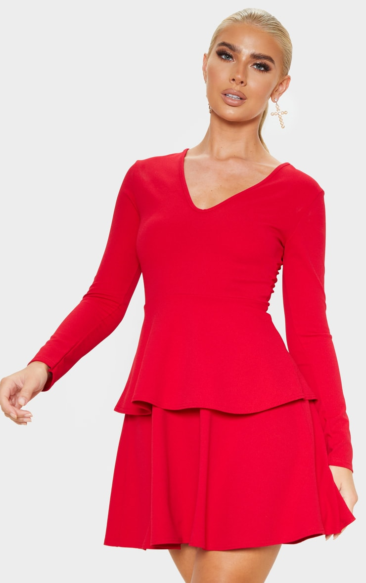 Red Double Tier Plunge Skater Dress 4