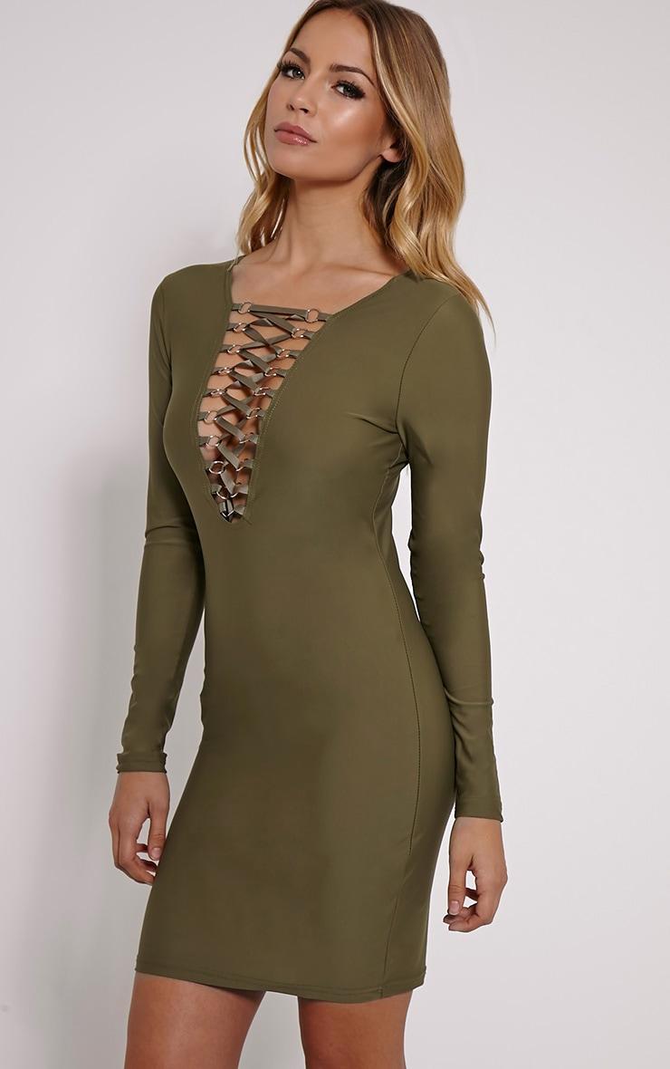 Eden Khaki Lace Up Front Mini Dress 4