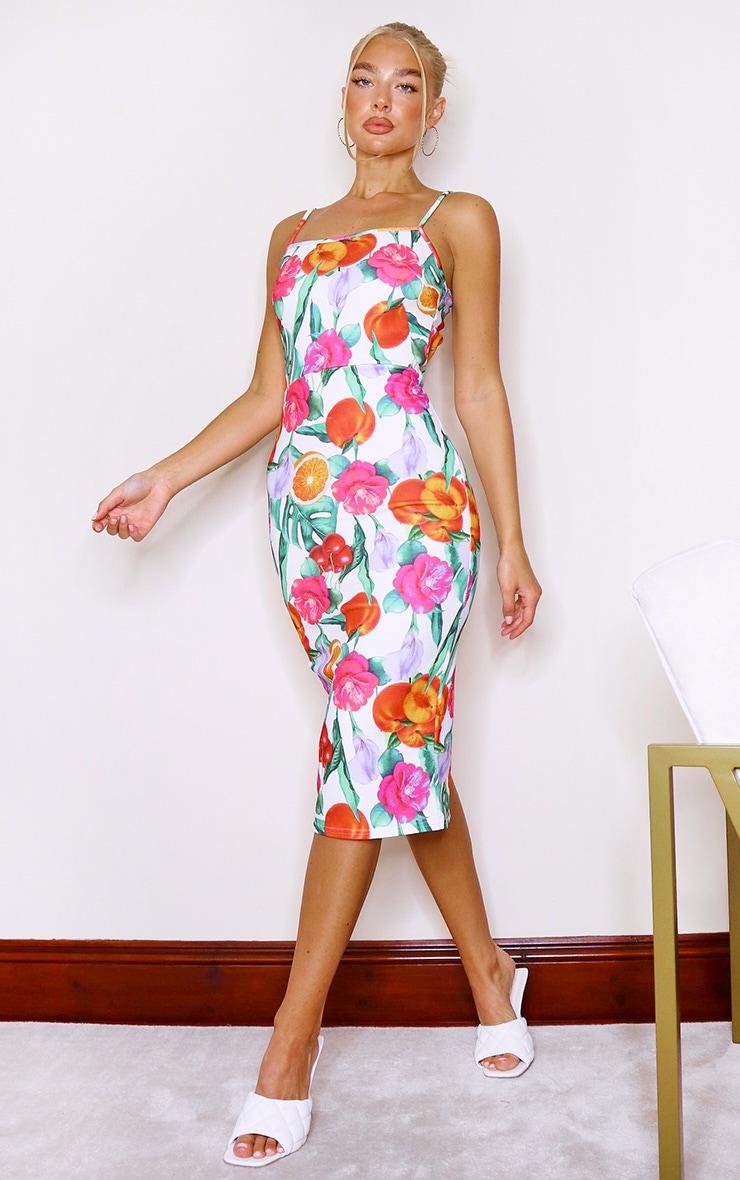 White Floral Print Crepe Strappy Midi Dress 3
