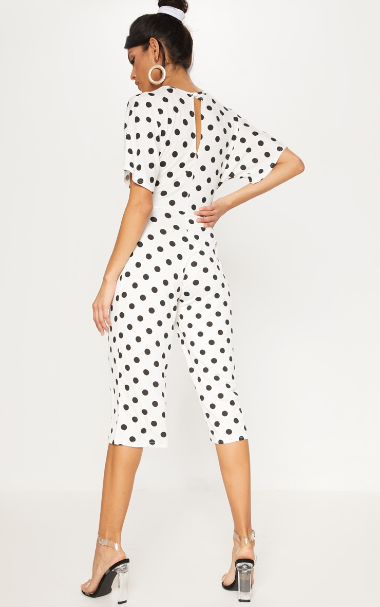 White Polka Dot Bat Wing Culotte Jumpsuit 2