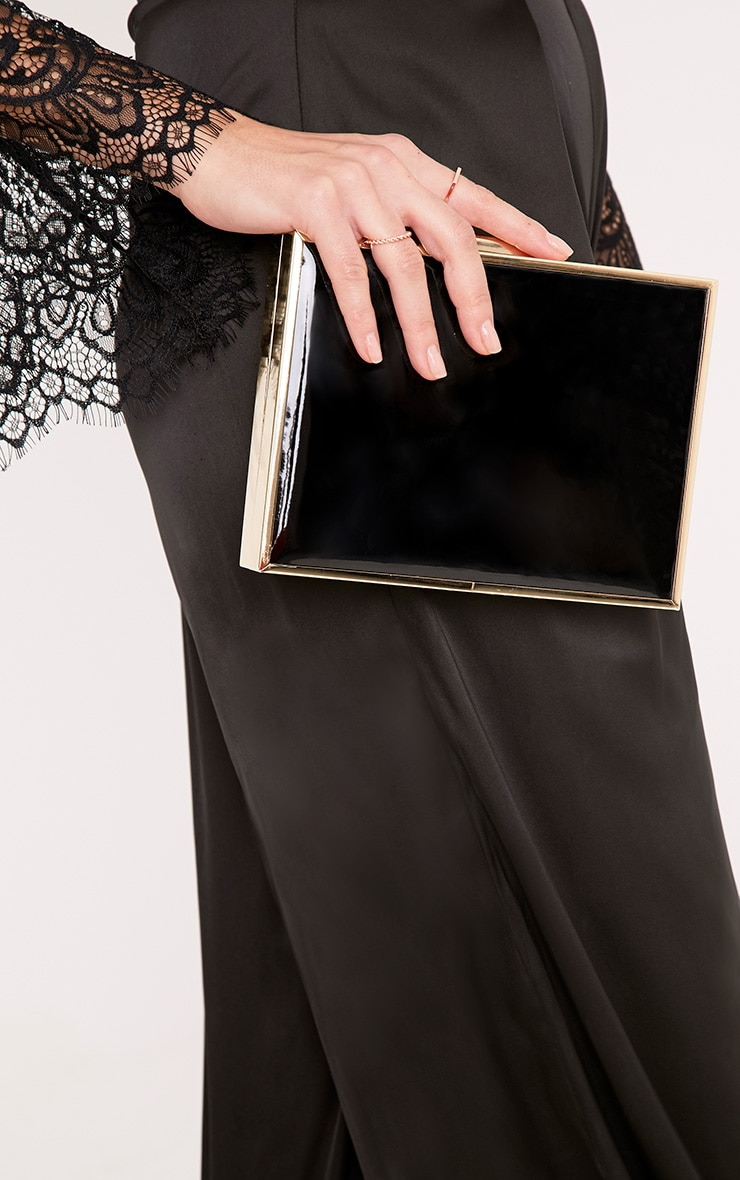 Jade Black Chunky Box Clutch 2