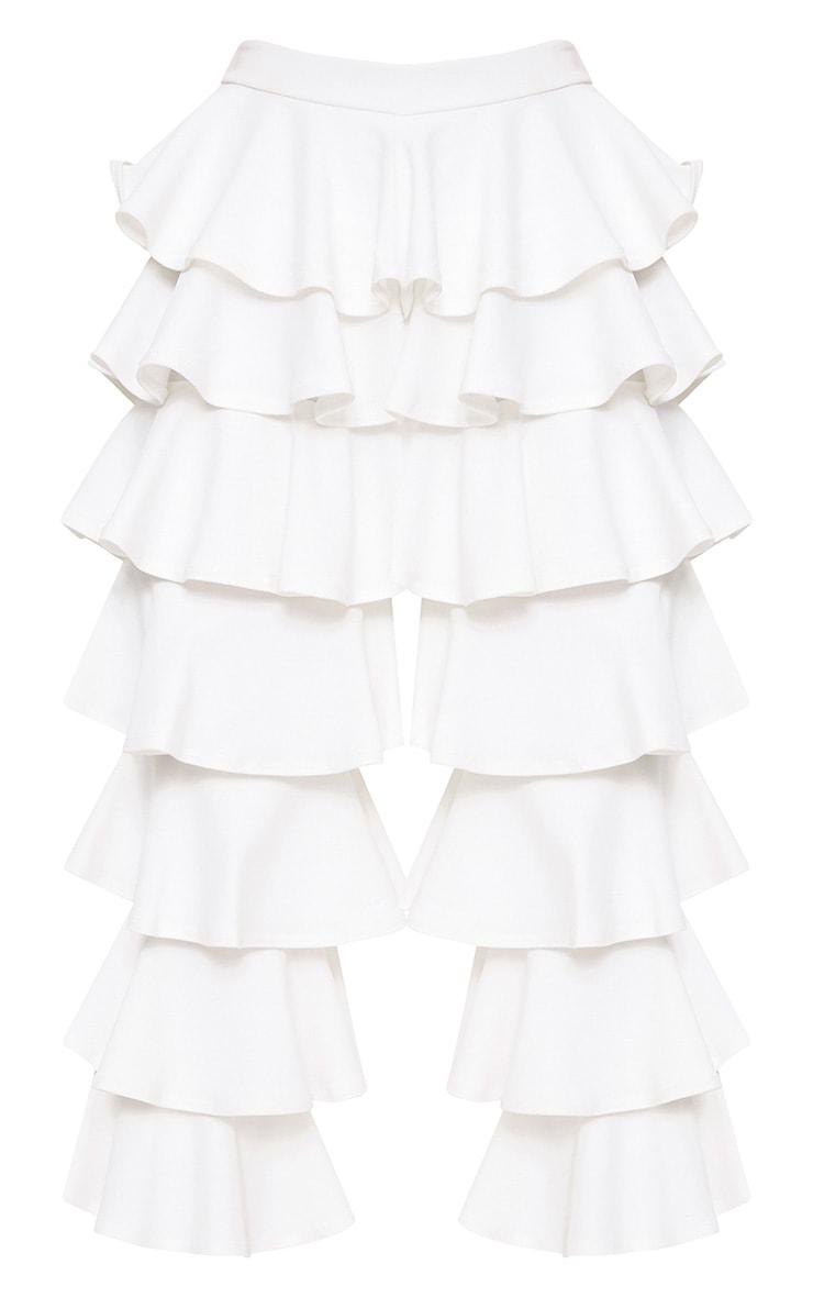 White Ra-ra Frill Cropped Pants 3