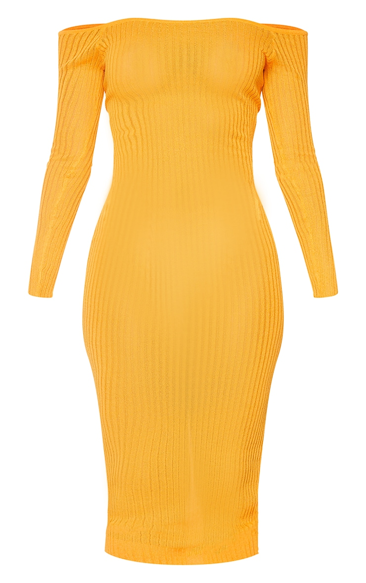 Orange Sheer Knit Bardot Midi Dress 5