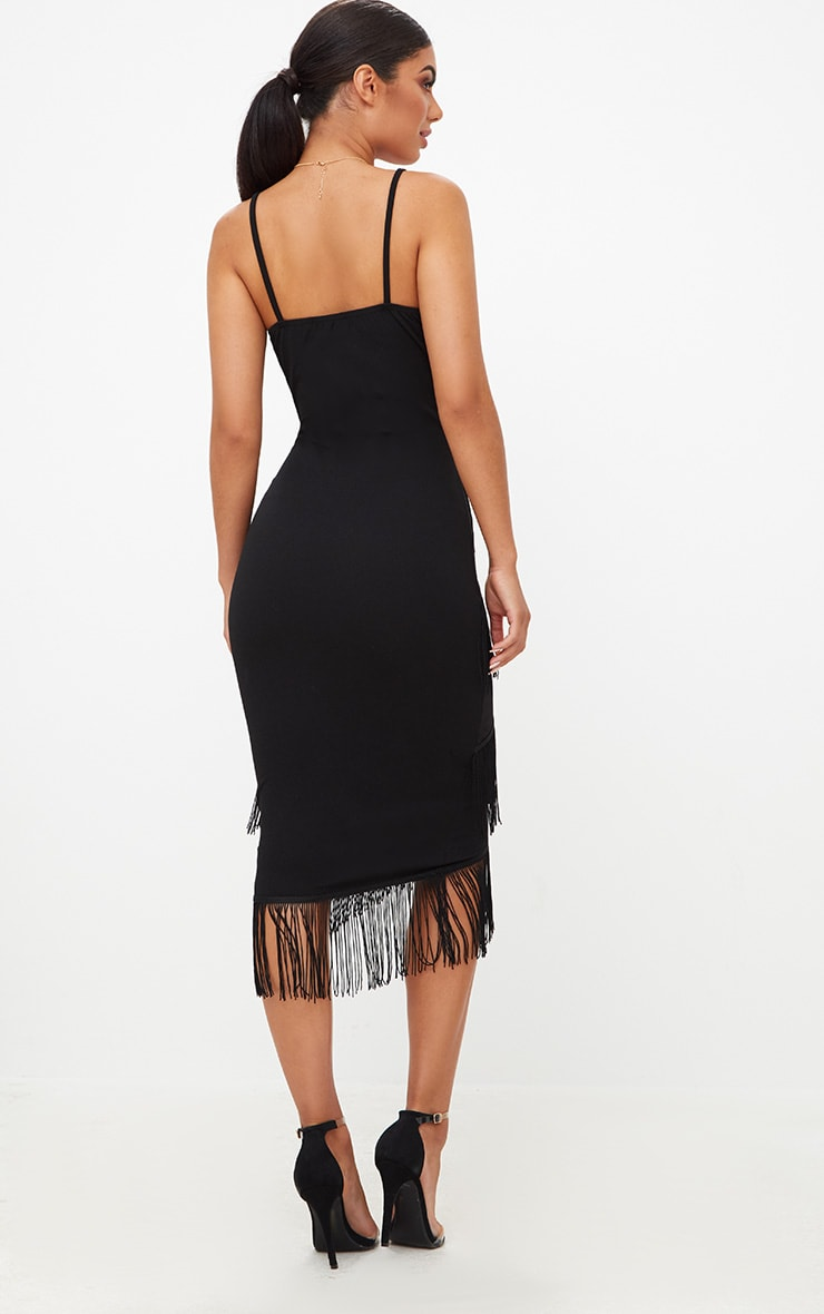 Black Strappy Tassel Longline Midi Dress 2