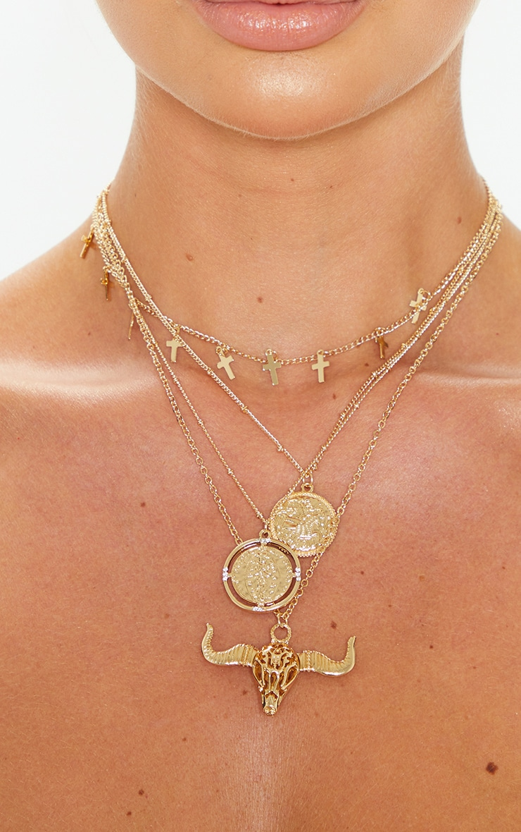 Gold Bull And Penny Cross Multi Chain Necklace 2
