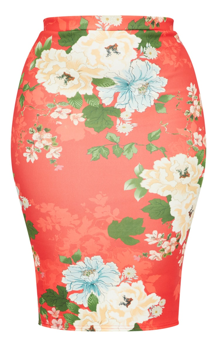 Plus Red Floral Print Midi Skirt 3