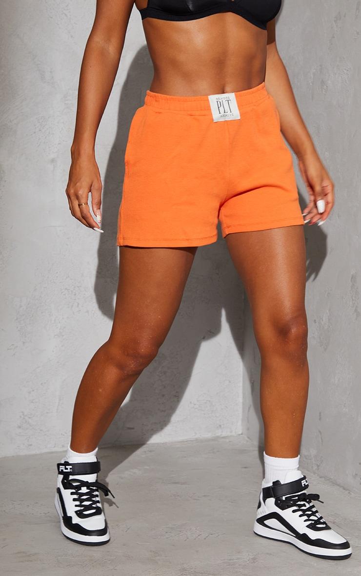 PRETTYLITTLETHING Orange Ribbed Lounge Shorts 2