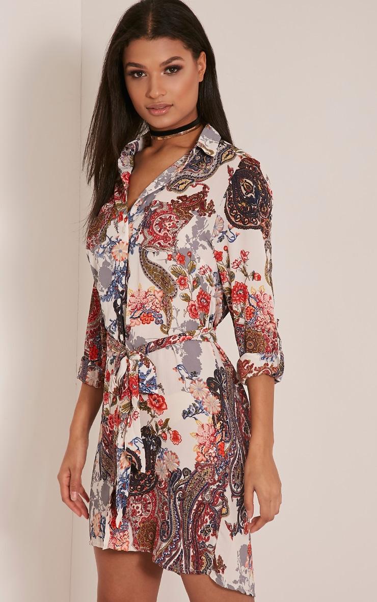 Abagail Cream Paisley Floral Printed Shirt Dress 3