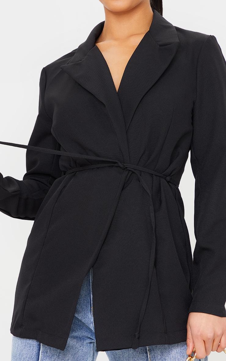Petite Black Skinny Tie Waist Blazer 4