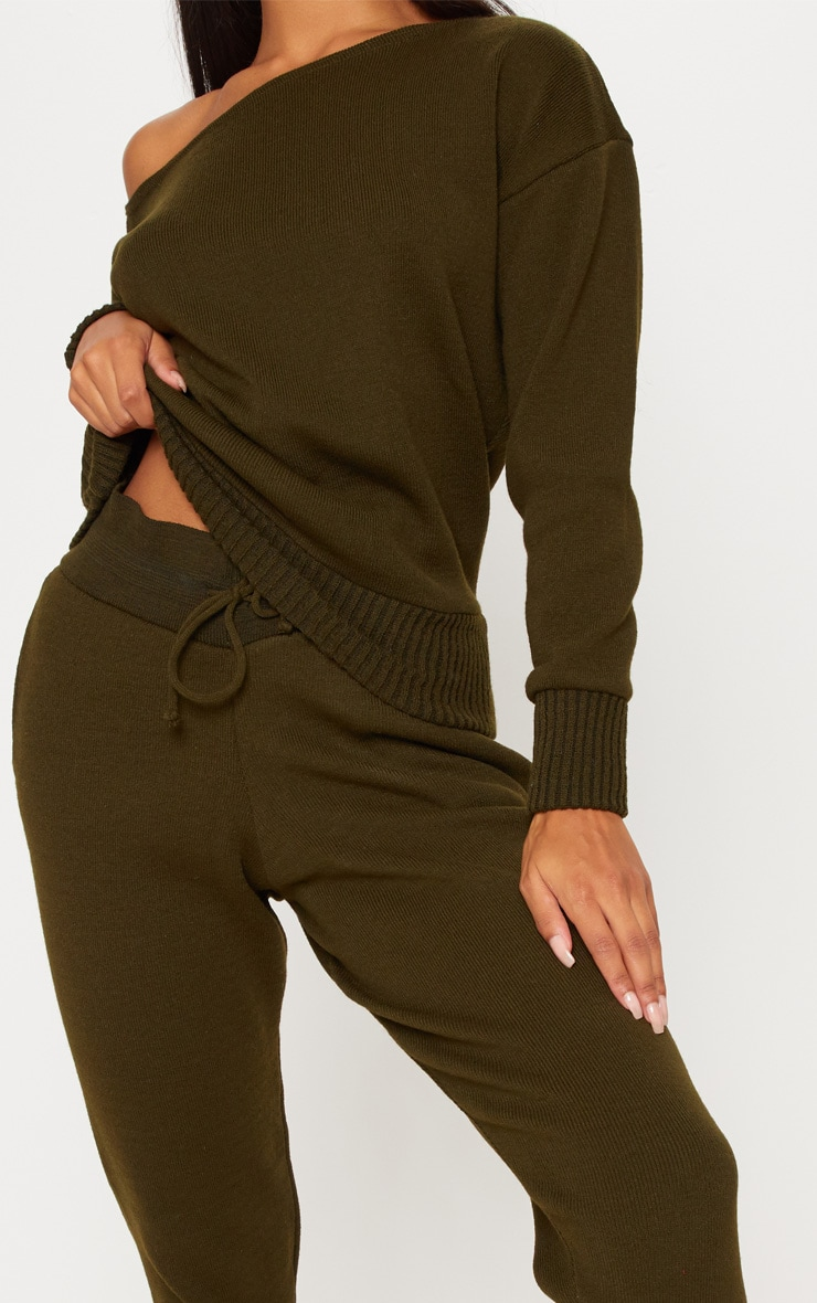 Auriel Khaki Jogger Jumper Knitted Lounge Set 5