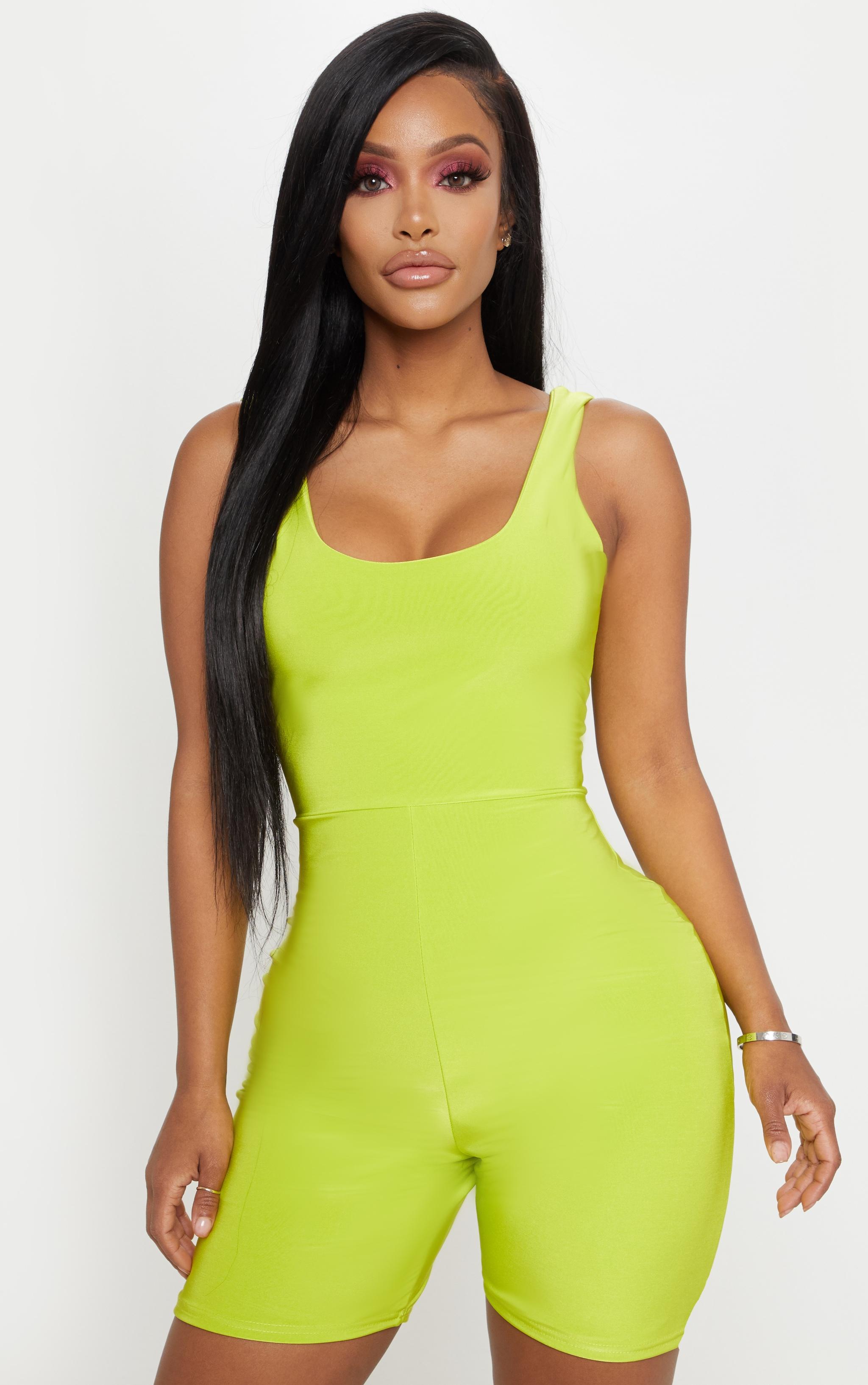 Shape Neon Lime Slinky Scoop Neck Unitard 4