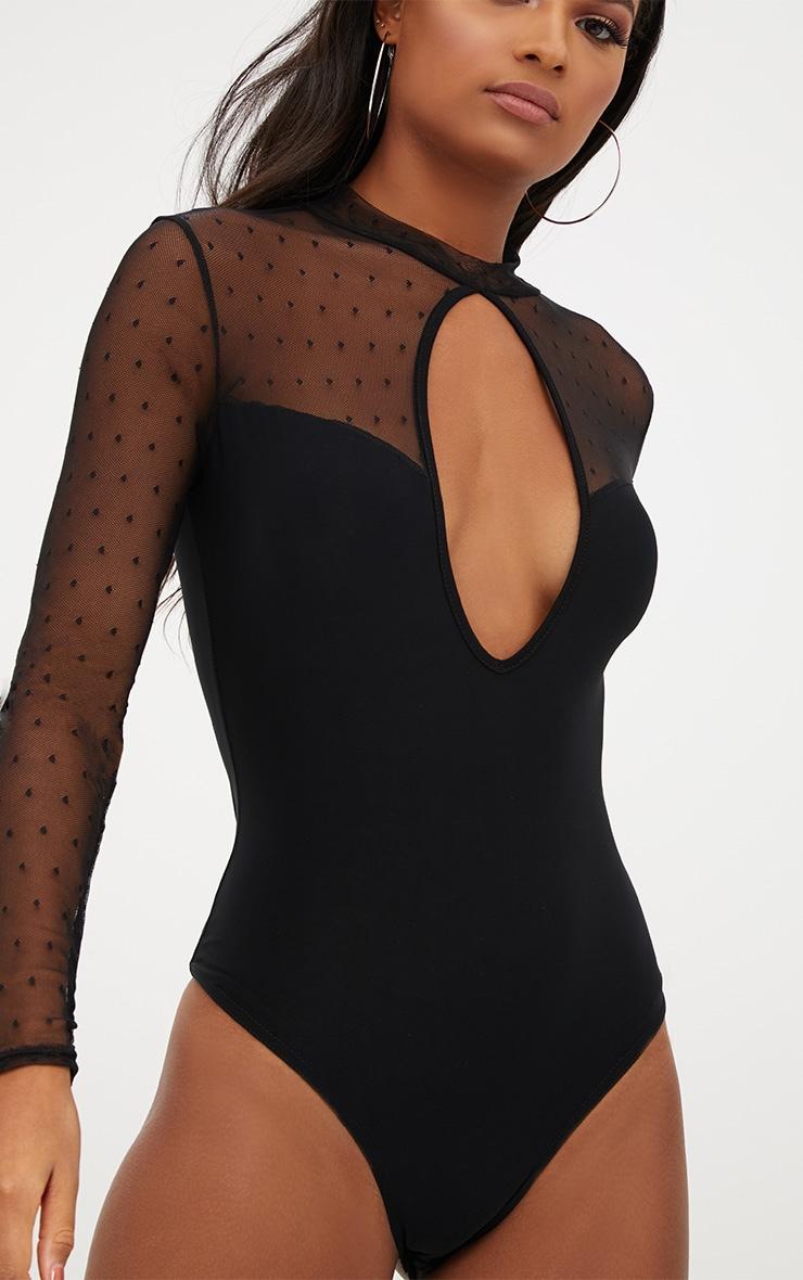Black Key Hole Mesh Sleeve Thong Bodysuit  6