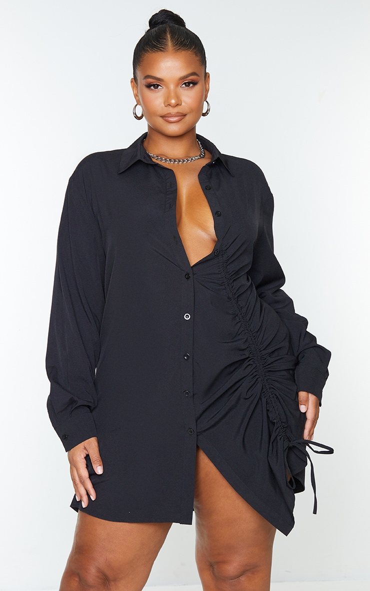 Plus Black Ruched Front Shirt Dress image 1