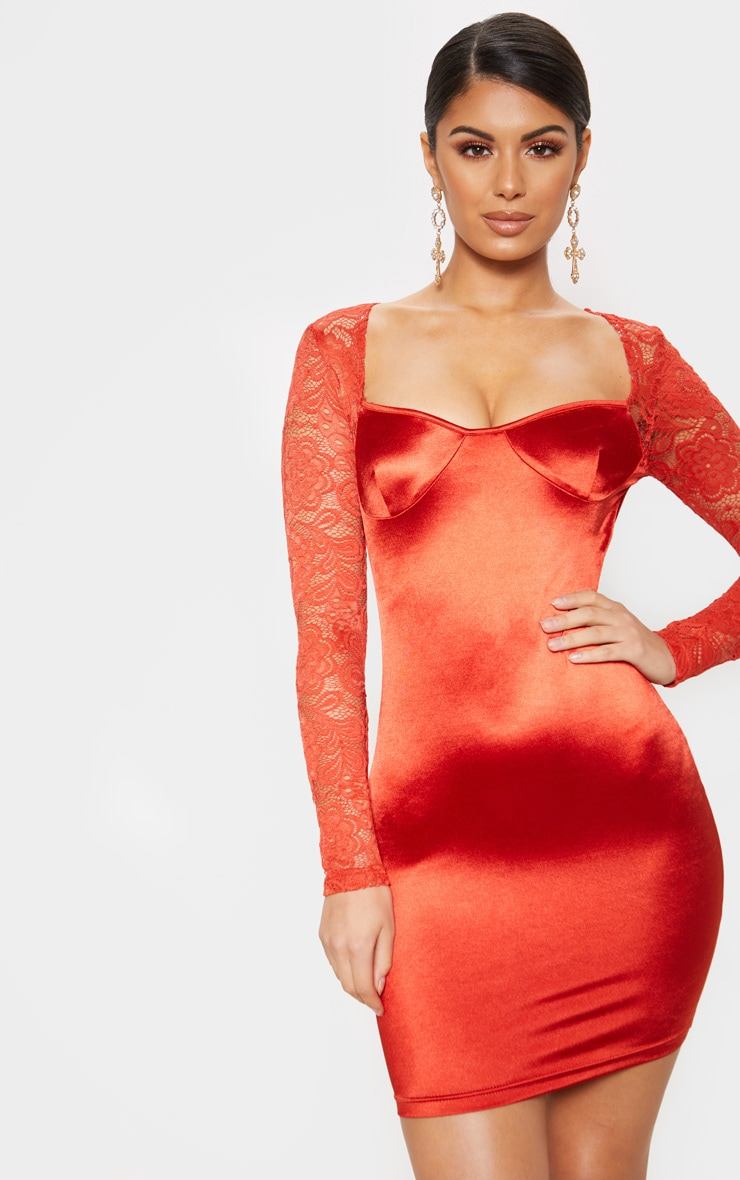 Red Satin Lace Sleeve Bodycon Dress 1