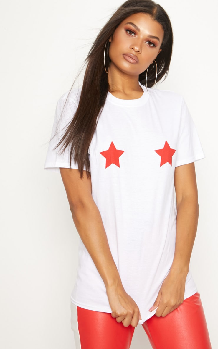 Red Star Print Oversized T Shirt 1