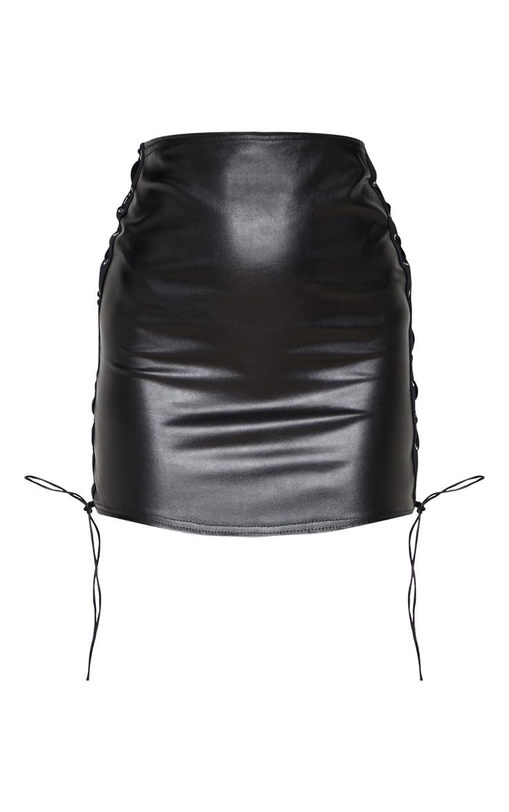 Black Faux Leather Lace Up Sides Mini Skirt 4