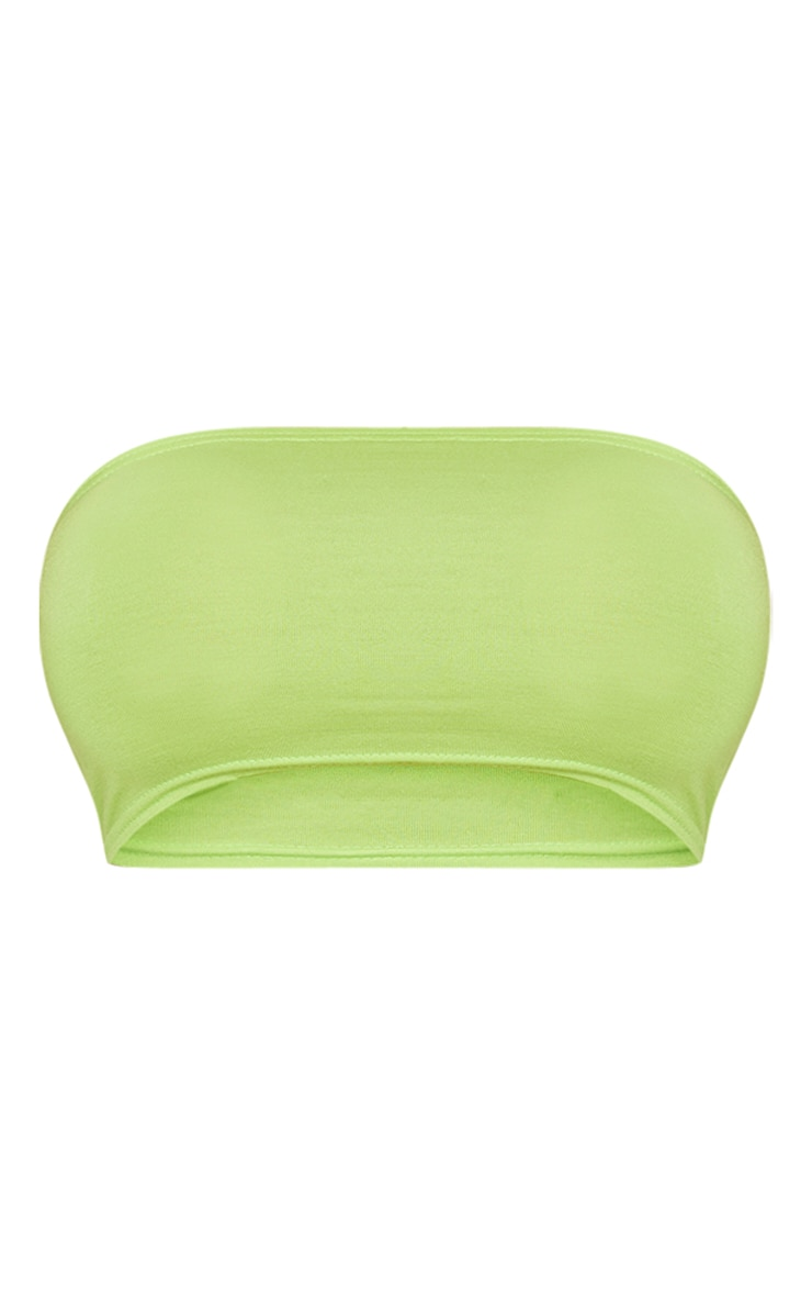 Basic Neon Lime Jersey Bandeau Top 3