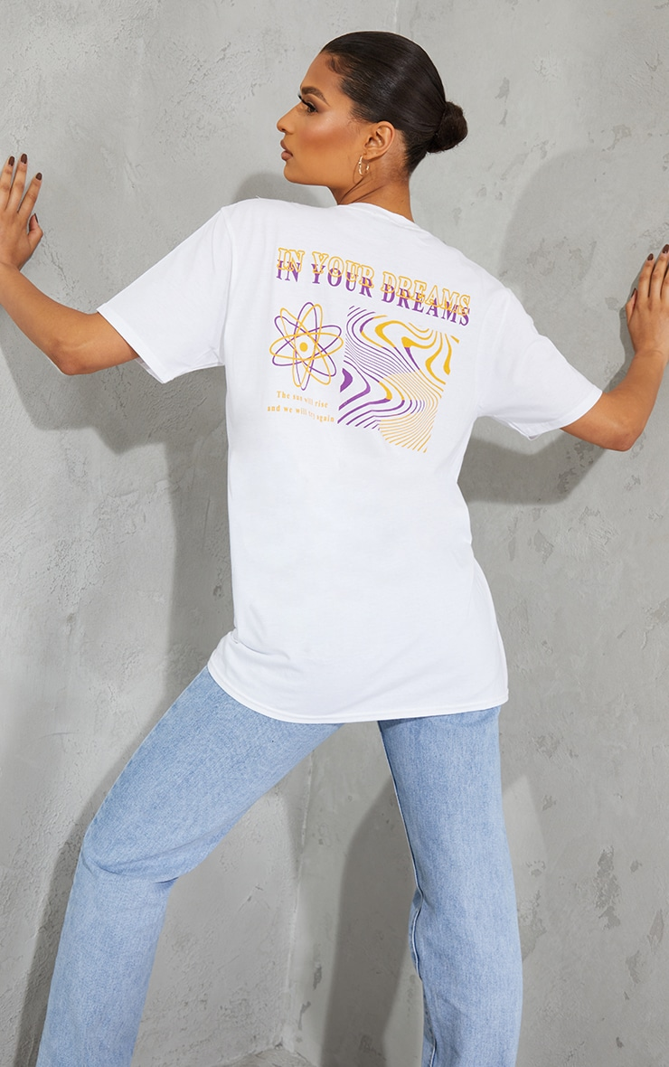 T-shirt blanc à imprimé In Your Dreams dans le dos 1