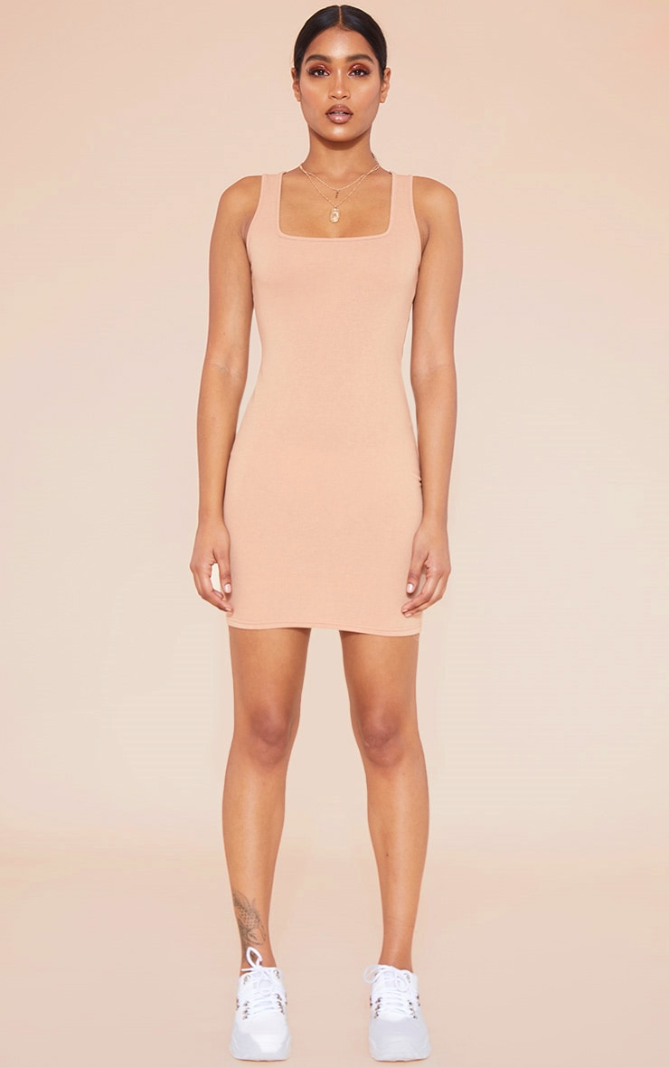 RECYCLED Pale Tan Square Neck Sleeveless Bodycon Dress 4