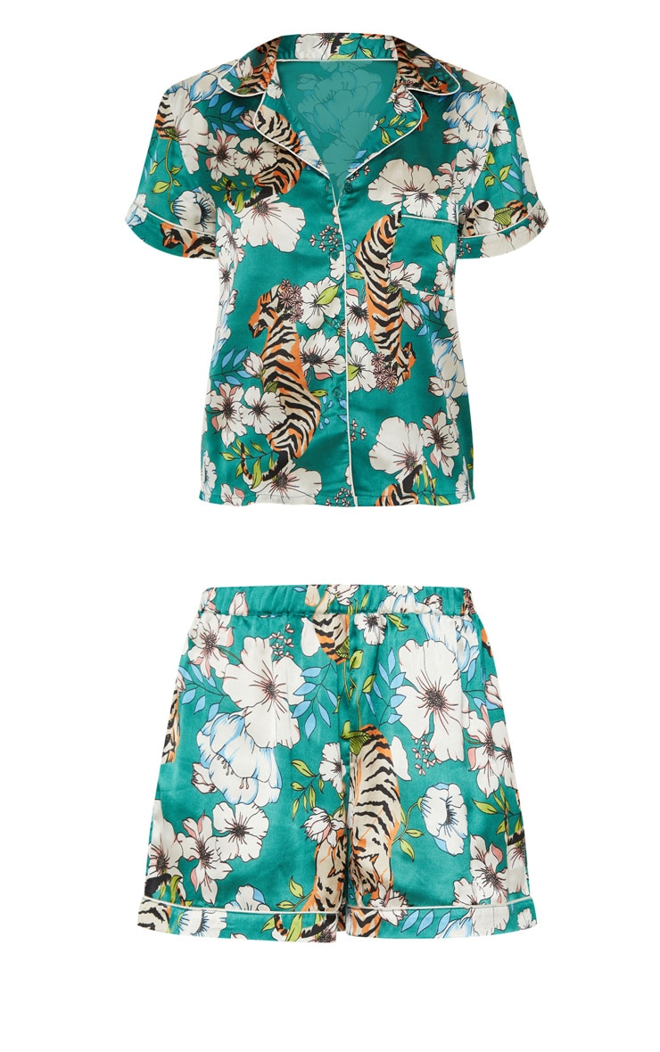 Ensemble pyjama satiné vert émeraude à imprimé tigre et fleurs 3