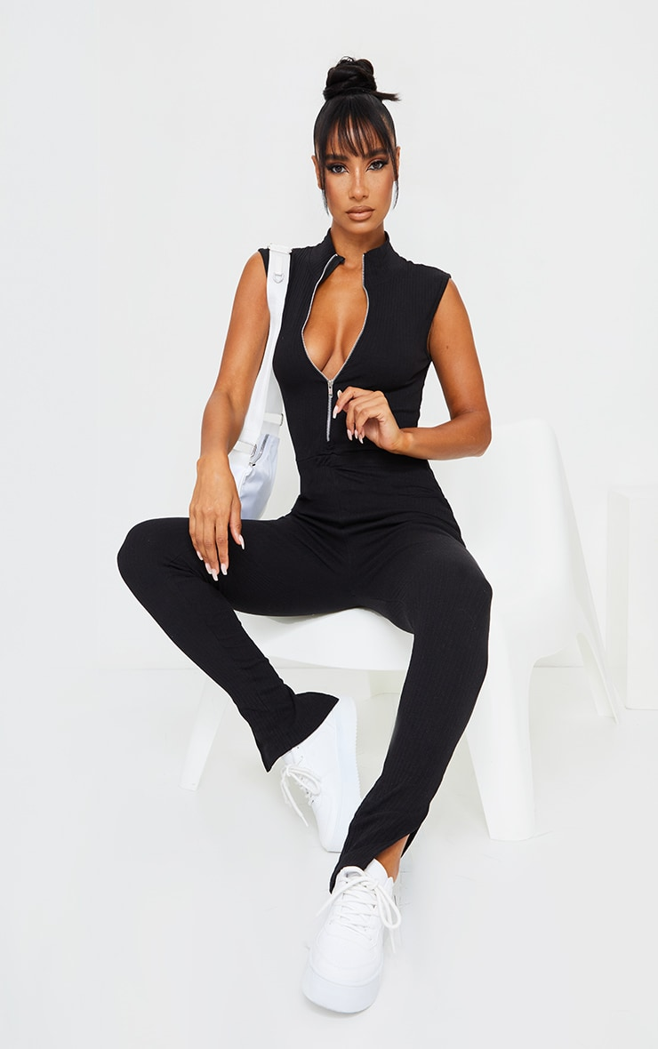 Black Thick Rib Zip Front Sleeveless Jumpsuit 1